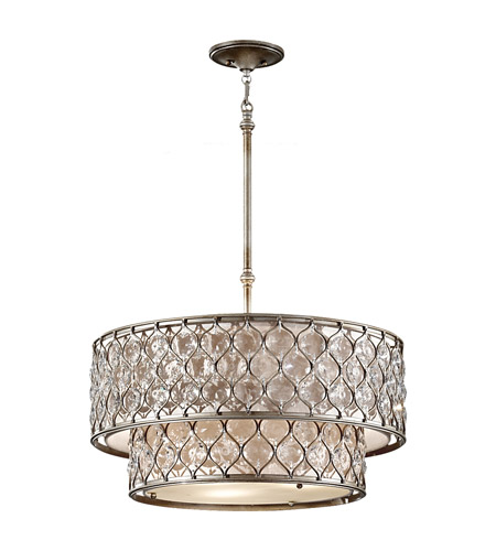 Feiss F2707/6BUS Lucia 6 Light 25 inch Burnished Silver Chandelier Ceiling Light in Standard photo