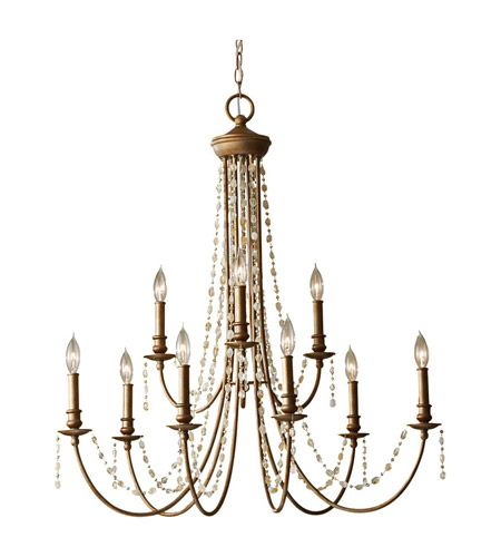 Feiss Aura 9 Light Chandelier in Rustic Silver F2711/9RUS photo
