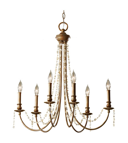 Feiss Aura 6 Light Chandelier in Rustic Silver F2712/6RUS photo