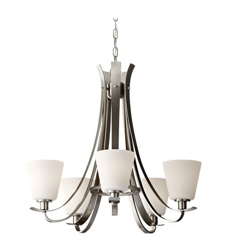 Feiss Spectra 5 Light Chandelier in Brushed Steel F2719/5BS photo