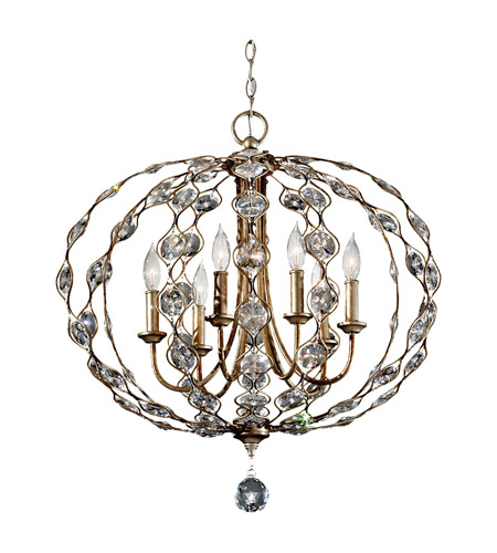 Feiss Leila 6 Light Chandelier in Burnished Silver F2740/6BUS photo