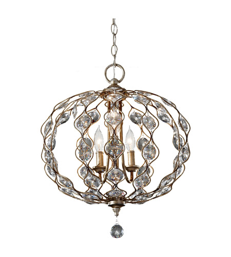 Feiss Leila 3 Light Chandelier in Burnished Silver F2741/3BUS photo