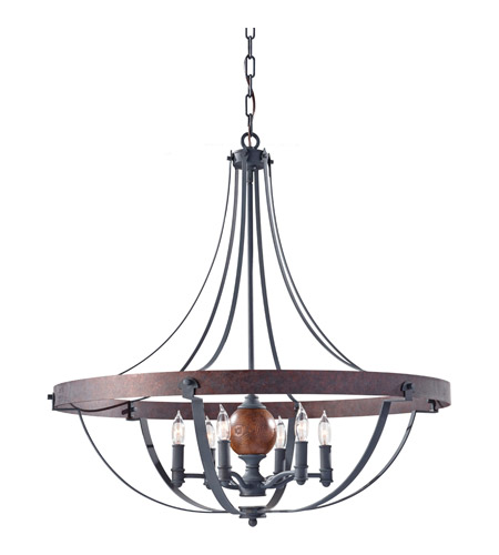 Feiss F2796/6AF/CBA Alston 6 Light 31 inch Antique Forged Iron, Charcoal Brick, Acorn Chandelier Ceiling Light photo