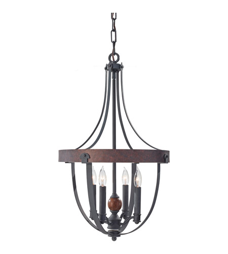 Feiss F2798/4AF/CBA Alston 4 Light 16 inch Antique Forged Iron, Charcoal Brick, Acorn Chandelier Ceiling Light photo