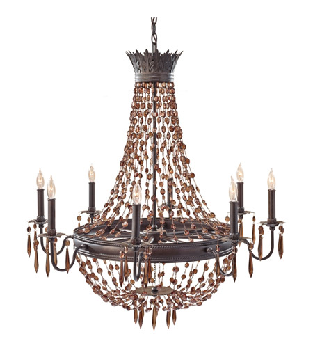 Feiss Marcia 8 Light Chandelier in Rustic Iron F2803/8RI photo