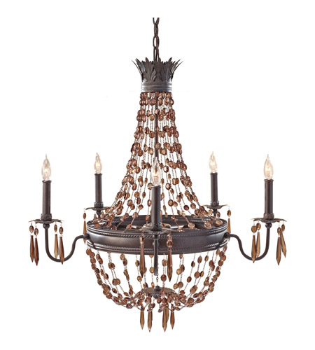 Feiss Marcia 5 Light Chandelier in Rustic Iron F2804/5RI photo
