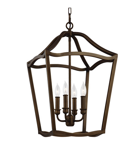 Murray Feiss Foyer Lighting: Feiss F2975/4PAGB Yarmouth 4 Light 15 Inch Painted Aged