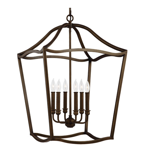 Murray Feiss Foyer Lighting: Feiss F2976/6PAGB Yarmouth 6 Light 20 Inch Painted Aged