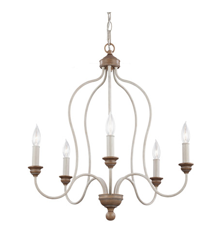 Feiss F2998/5CHKW/BW Hartsville 5 Light 24 inch Chalk Washed / Beachwood Chandelier Ceiling Light photo