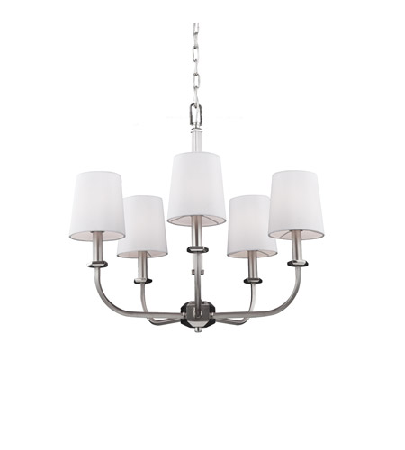 Feiss F3050/5SN/PN Pentagram 5 Light 24 inch Satin Nickel / Polished Nickel Chandelier Ceiling Light photo