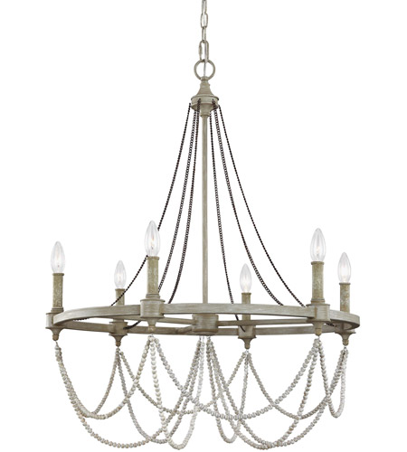Feiss F3132/6FWO/DWW Beverly 6 Light 28 inch French Washed Oak and Distressed White Wood Chandelier Ceiling Light  photo