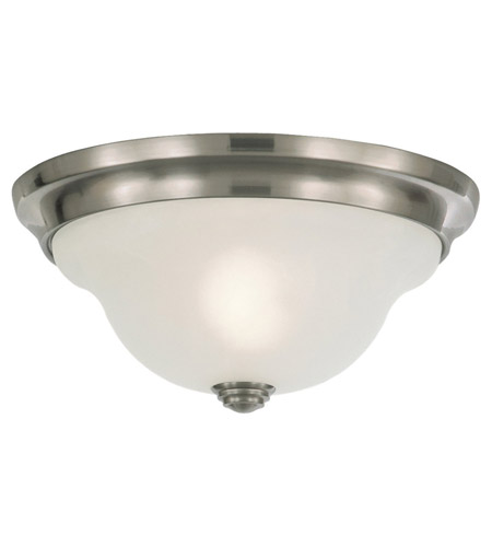 Feiss FM250BS Vista 1 Light 11 inch Brushed Steel Flush Mount Ceiling Light in White Alabaster Glass photo