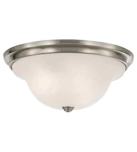 Feiss FM252BS Vista 3 Light 15 inch Brushed Steel Flush Mount Ceiling Light in White Alabaster Glass photo