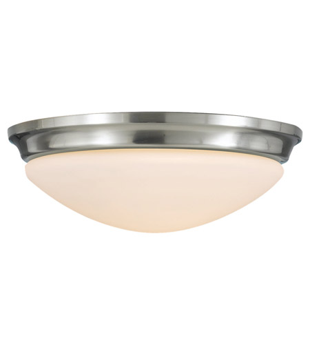 Feiss FM272BS Barrington 2 Light 14 inch Brushed Steel Flush Mount Ceiling Light in Standard photo