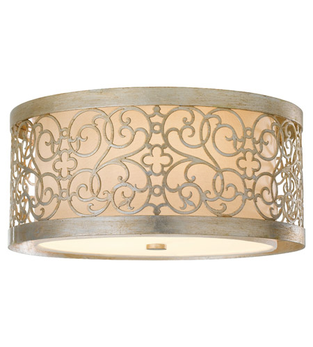 Feiss FM339SLP Arabesque 2 Light 15 inch Silver Leaf Patina Flush Mount Ceiling Light in Standard photo