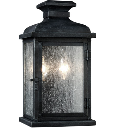 Feiss OL11100DWZ Pediment 2 Light 13 inch Dark Weathered Zinc Outdoor Wall Sconce photo