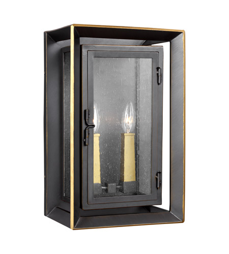 Feiss OL13802ANBZ/PBB Urbandale 2 Light 16 inch Antique Bronze and Painted Burnished Brass Outdoor Wall Lantern photo