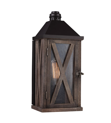 Feiss OL17000DWO ORB Lumiere 1 Light 15 Inch Dark Weathered Oak And Oil Rubbed Bronze Outdoor Lantern Wall Sconce