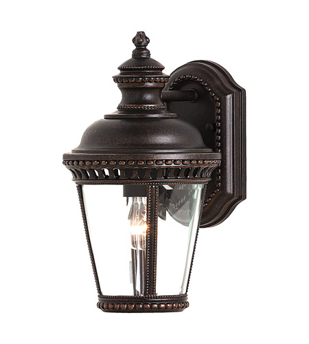 Feiss OL1900GBZ Castle 1 Light 12 inch Grecian Bronze Outdoor Wall Sconce in Standard, Clear Bent Beveled Glass photo