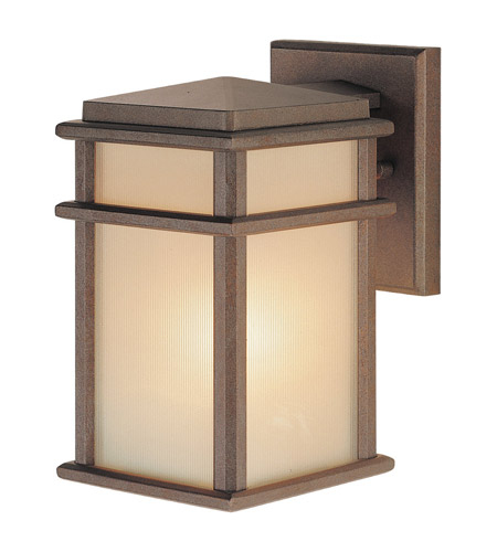 Feiss OL3400CB Mission Lodge 1 Light 9 inch Corinthian Bronze Outdoor Wall Sconce in Standard, Amber Ribbed Glass  photo