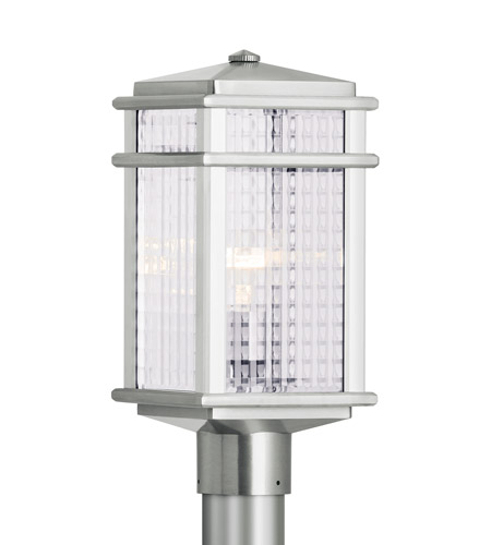 Feiss OL3407BRAL Mission Lodge 1 Light 16 inch Brushed Aluminum Post Lantern Clear Checked Glass photo thumbnail