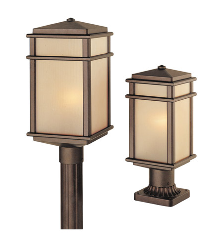 Feiss OL3407CB Mission Lodge 1 Light 16 inch Corinthian Bronze Post Lantern in Standard, Amber Ribbed Glass photo