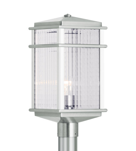 Feiss OL3408BRAL Mission Lodge 1 Light 19 inch Brushed Aluminum Post Lantern in Standard, Clear Checked Glass photo
