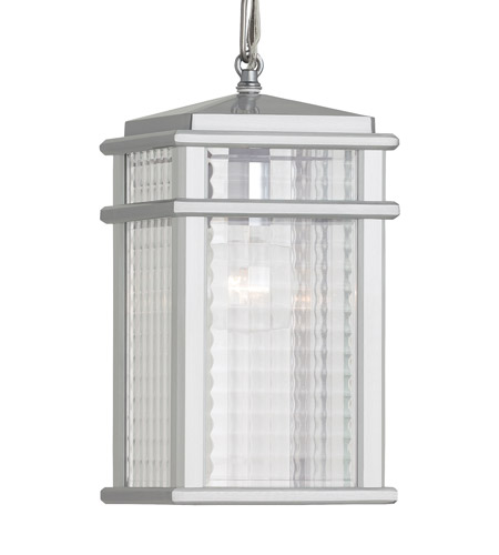 Feiss OL3411BRAL Mission Lodge 1 Light 7 inch Brushed Aluminum Outdoor Hanging Lantern in Standard, Clear Checked Glass photo