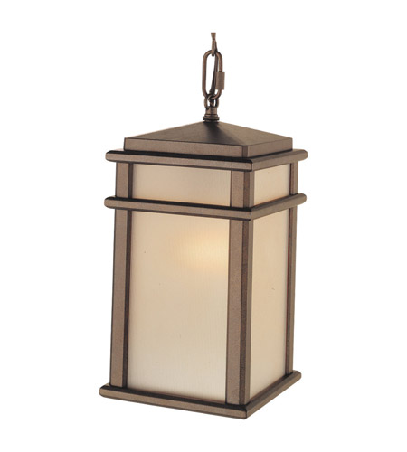 Feiss OL3411CB Mission Lodge 1 Light 7 inch Corinthian Bronze Outdoor Hanging Lantern in Standard, Amber Ribbed Glass photo