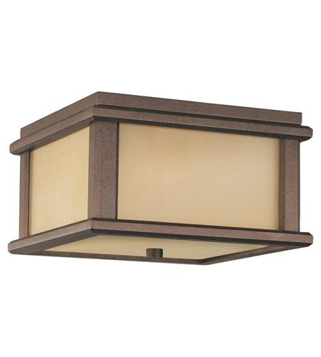 Feiss OL3413CB Mission Lodge 2 Light 9 inch Corinthian Bronze Outdoor Flush Mount Amber Ribbed Glass photo