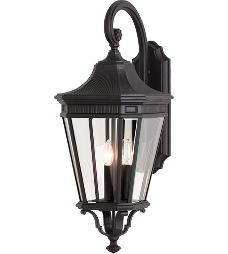 Feiss OL5404BK Cotswold Lane 3 Light 30 inch Black Outdoor Wall Sconce in Standard photo