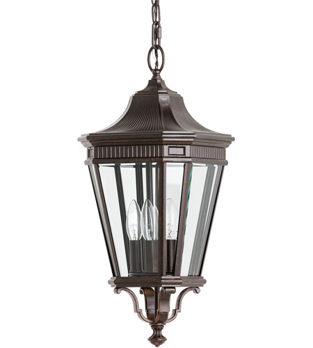 Feiss Cotswold Lane 3 Light Outdoor Hanging Lantern in Grecian Bronze OL5411GBZ photo