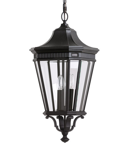 Feiss Cotswold Lane 3 Light Outdoor Hanging Lantern in Black OL5412BK photo