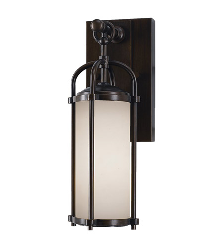 Feiss OL7600ES Dakota 1 Light 13 inch Espresso Outdoor Wall Sconce in Standard, Aged Oak Glass photo