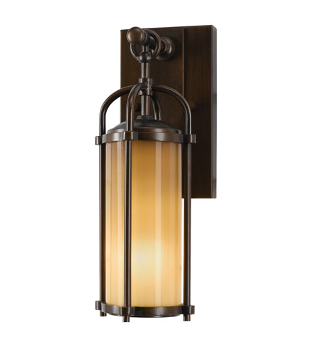 Feiss OL7600HTBZ Dakota 1 Light 13 inch Heritage Bronze Outdoor Wall Bracket in Aged Oak Glass photo