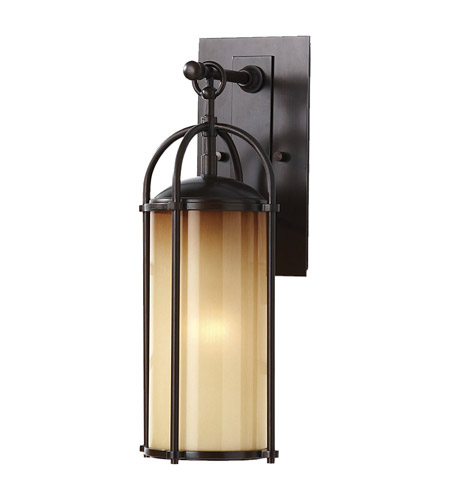 Feiss OL7604HTBZ Dakota 1 Light 17 inch Heritage Bronze Outdoor Wall Sconce in Aged Oak Glass photo