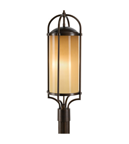 Feiss OL7607HTBZ Dakota 3 Light 28 inch Heritage Bronze Post Lantern in Standard, Aged Oak Glass photo