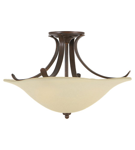 Feiss SF214GBZ Morningside 3 Light 18 inch Grecian Bronze Semi Flush Mount Ceiling Light in Cream Snow Glass photo