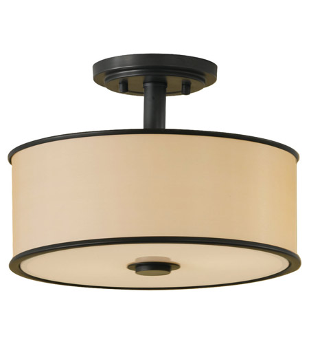 Feiss SF251DBZ Casual Luxury 2 Light 13 inch Dark Bronze Semi Flush Mount Ceiling Light in Standard, Bronze Organza photo
