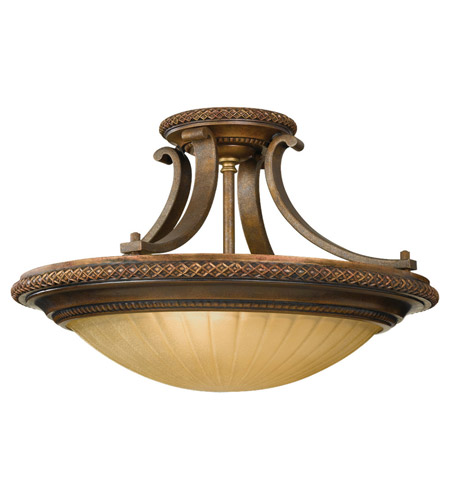 Feiss Kelham Hall 2 Light Semi Flush Mount in Firenze Gold and British Bronze SF262FG/BRB photo