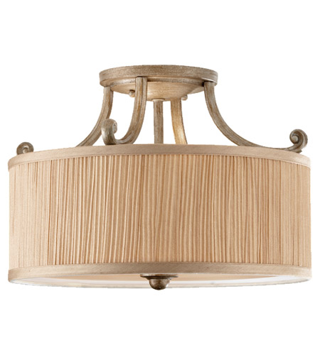 Feiss Abbey 3 Light Semi Flush Mount in Silver Sand SF293SVSD photo