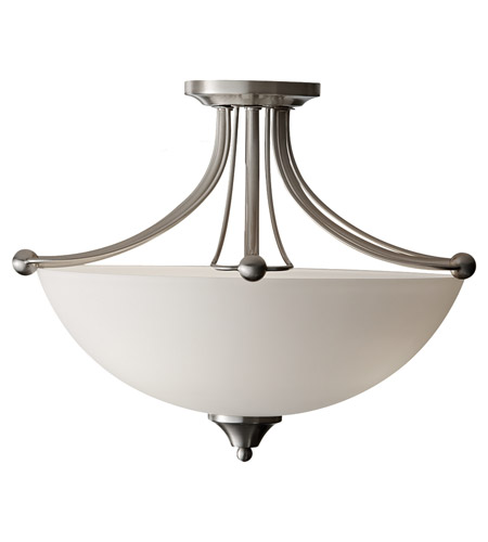 Feiss Morgan 3 Light Semi Flush Mount in Brushed Steel SF303BS photo