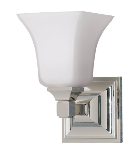 Feiss VS12401-PN American Foursquare 1 Light 5 inch Polished Nickel Vanity Strip Wall Light in Opal Etched Glass photo