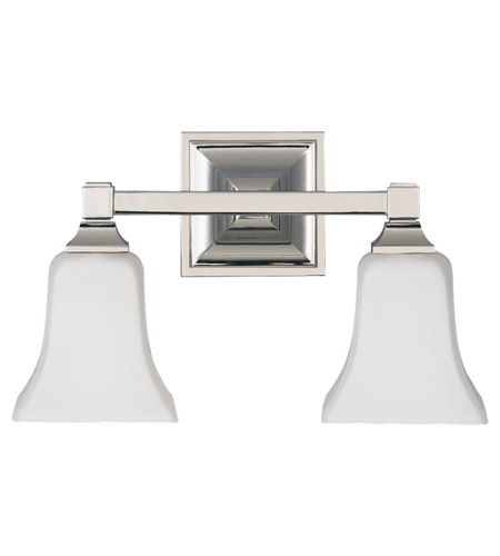 Feiss VS12402-PN American Foursquare 2 Light 14 inch Polished Nickel Vanity Strip Wall Light in Opal Etched Glass, 14.25 photo