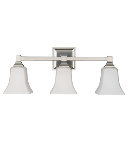 Feiss VS12403-PN American Foursquare 3 Light 22 inch Polished Nickel Vanity Strip Wall Light in Opal Etched Glass photo