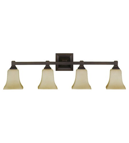 Feiss VS12404-ORB American Foursquare 4 Light 31 inch Oil Rubbed Bronze Vanity Strip Wall Light in Excavation Glass, 31.25 photo