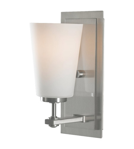 Feiss VS14901-BS Sunset Drive 1 Light 5 inch Brushed Steel Vanity Strip Wall Light in Opal Etched Glass photo
