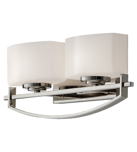 Feiss VS18202-PN Bleeker Street 2 Light 16 inch Polished Nickel Vanity Strip Wall Light in Opal Etched Glass, 16.125 photo