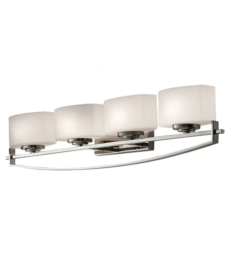 Feiss VS18204-PN Bleeker Street 4 Light 32 inch Polished Nickel Vanity Strip Wall Light in Opal Etched Glass, 31.875 photo