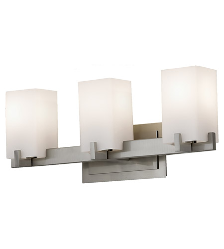 Feiss VS18403-BS Riva 3 Light 22 inch Brushed Steel Vanity Strip Wall Light in Cream Etched Glass, 21.5 photo